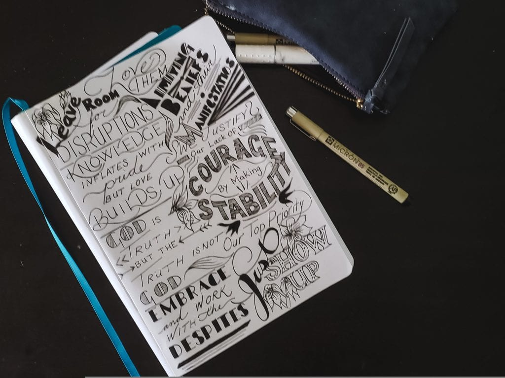 Hand lettered thoughts in sketchbook