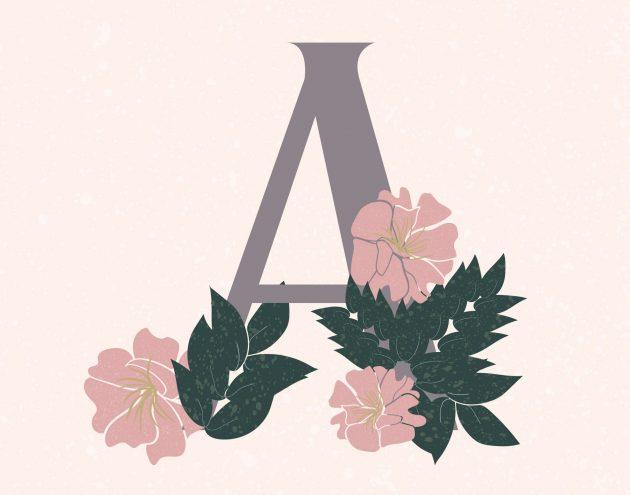 the letter A with Azaleas