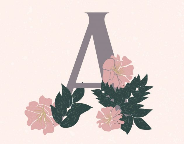 the letter A with Azaleas